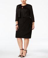 MSK Plus Size Glitter Draped Dress and Jacket