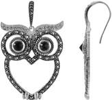 Lavish By Tjm Lavish by TJM Sterling Silver Black Onyx, White Crystal & Marcasite Owl Earrings
