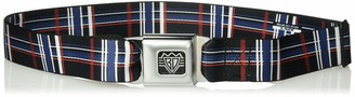 """Buckle Down Buckle-Down Unisex-Adult's Seatbelt Belt Plaid XL Black/red/White/Blue 1.5"""" Wide-32-52 Inches"""