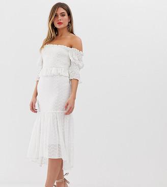 Bardot Dark Pink crochet lace midi dress in white