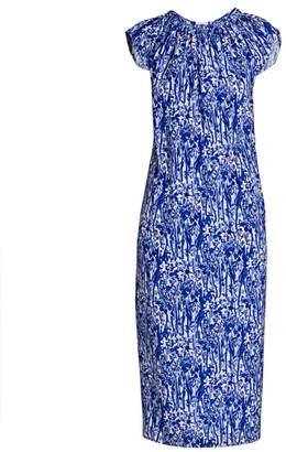Marni Ruched Collar Silk Midi Dress