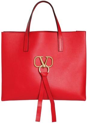 Valentino V RING E/W LEATHER TOTE BAG