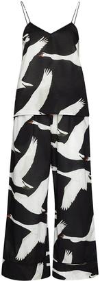 Desmond & Dempsey Cygnus swan-print two-piece pyjama