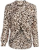L'Agence Mariposa Leopard High-Low Silk Blouse