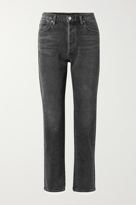 Gold Sign Net Sustain The Benefit High-rise Straight-leg Jeans - Dark gray
