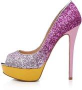 Arc-en-Ciel women's platform shoes peep toe high heel-blackredleopard-us