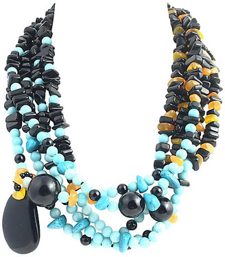 One Kings Lane Vintage 5-Strand Onyx Amber & Turquoise Necklace - Owl's Roost Antiques