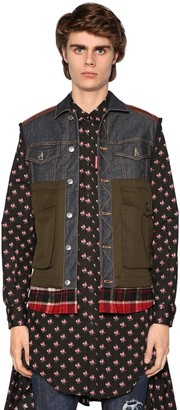 DSQUARED2 Denim Vest W/ Nylon Down Back Panel