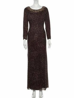 Jenny Packham Scoop Neck Long Dress Brown