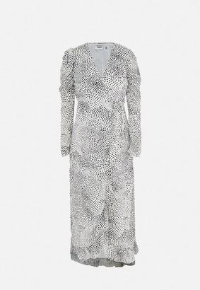 Missguided White Polka Dot Puff Sleeve Maternity Maxi Dress