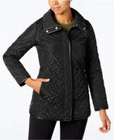 Cole Haan Faux-Leather-Trim Quilted Coat