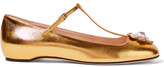 Gucci Embellished Metallic Leather Ballet Flats - Gold