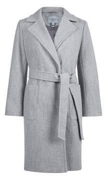 Dorothy Perkins Womens Petite Grey Pocket Wrap Coat, Grey