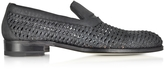a. testoni A.Testoni Black Woven Leather Slip-on Shoe