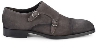 To Boot Double Buckle Monk Strap Suede Loafers