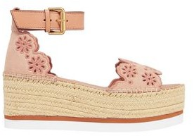 See by Chloe Laser-cut Embroidered Suede Platform Espadrille Sandals