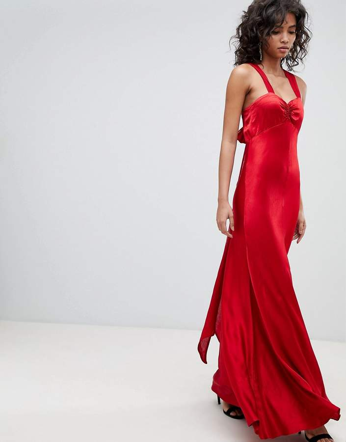 Ghost V Neck Maxi Dress With Bow Back
