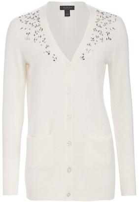 Saks Fifth Avenue COLLECTION Embellished V-Neck Cashmere Cardigan