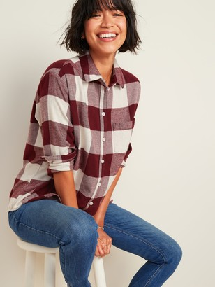 Old Navy Oversized Plaid Flannel Boyfriend Tunic Shirt for Women