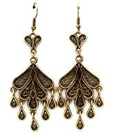 Nine Antiqued Gold Teardrop Chandelier Earrings