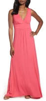 Loveappella V-Neck Jersey Maxi Dress
