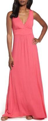 Loveappella V-Neck Jersey Maxi Dress