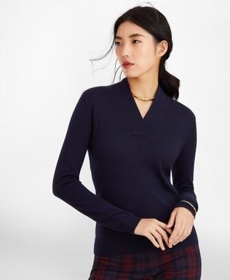 Brooks Brothers Silk-Cashmere Shawl-Collar Sweater