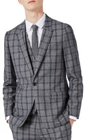 Topman Men's Skinny Fit Plaid Suit Jacket