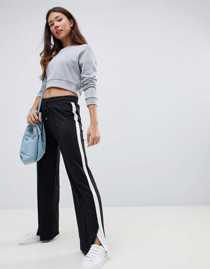 Brave Soul flared trousers with side stripe in white