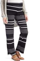 Glam Black & White Stripe Straight-Leg Maternity Pants