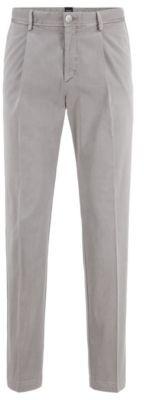 HUGO BOSS Tapered Leg Pants In Stretch Cotton Gabardine - Light Brown