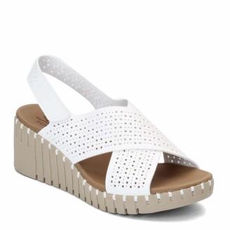 Skechers PIER AVE - Beach Chick - Wedge Heeled Casual Comfort Slingback Cross Strap Slide Sandal White