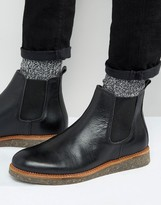 Asos Chelsea Boots In Black Leather With Cork Sole