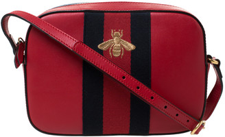 Gucci Red Leather Webby Bee Crossbody Bag