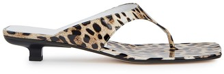 BY FAR Jack 25 Leopard-print Patent Leather Sandals