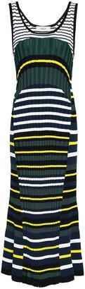 Pringle Fluted Striped Ribbed-knit Midi Dress