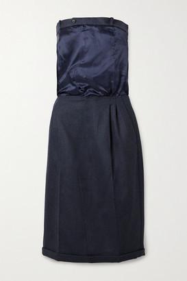 Maison Margiela Strapless Grain De Poudre Wool And Satin-twill Dress - Storm blue