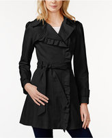 Jessica Simpson Ruffled Asymmetrical Trench Coat