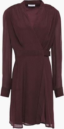 Equipment Allaire Shirred Fil Coupe Silk-blend Chiffon Mini Wrap Dress