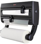 Leifheit Parat F2 Wall-Mounted Foil, Cling Film and Kitchen Roll Holder Dispenser - Black
