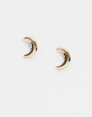 Pieces half moon stud earrings in gold