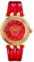 Versace Women's 'KHAI' Swiss Quartz Stainless Steel and Leather Casual Watch, Color:Red (Model: VQE100016)