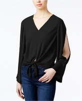 Rachel Roy Tie-Front Cold-Shoulder Blouse, Created for Macy's