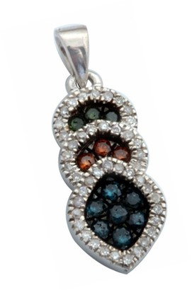 Prism Jewel 925 Silver 1/4 Ctw Multi Color Diamond with White Diamond Leaf Pendant