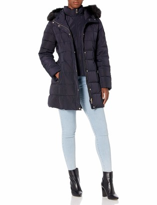 Calvin Klein Women's Down Puffer with Waist Detail Vestie and Faux Fur Trimmed Hood