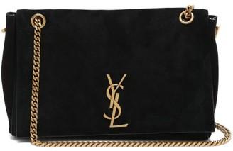 Saint Laurent Kate Reversible Leather And Suede Shoulder Bag - Black