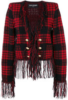 Balmain checkered military jacket - women - Mohair/Wool/Viscose/Polyamide - 36