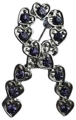 Eyewearstraps NEW Design Lavender Crystal Silver Heart Ribbon Brooch Pin Cancer Lupus Awareness