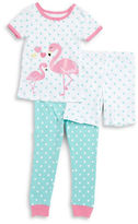 Little Me Little Girls Flamingo Tee, Shorts and Pants Set