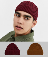 Asos DESIGN 2 pack mini fisherman beanie in tobacco and burgundy cable knit SAVE